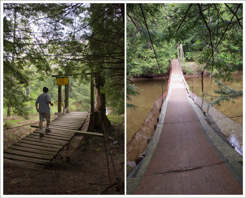 The Swinging Bridge is a short walk after the road ends