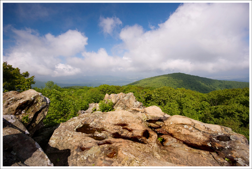 This is the first of the four summit views you'll come to along the Hawksbill Loop Trail.