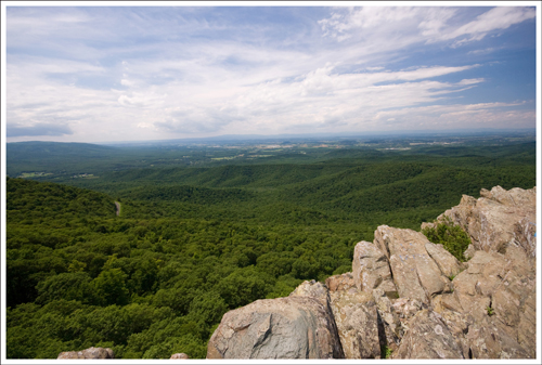 You can see a little snip of the Blue Ridge Parkway from the summit.