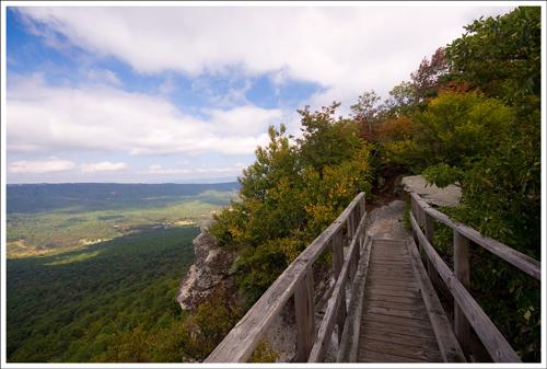 You access the Big Schloss overlook via a small wood footbridge.