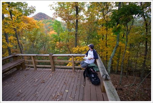 Adam takes a look at Molly's Knob from the viewing platform lower on the trail.