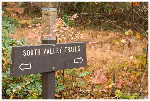 The sign marking the South Valley Trail