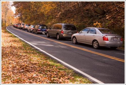 Cars waiting to get into Shenandoah National Park