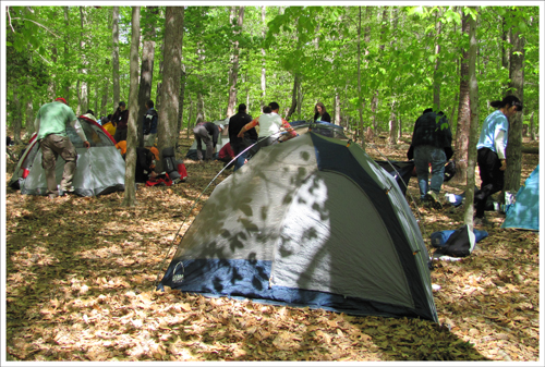 Camp was set up with a variety of tents.