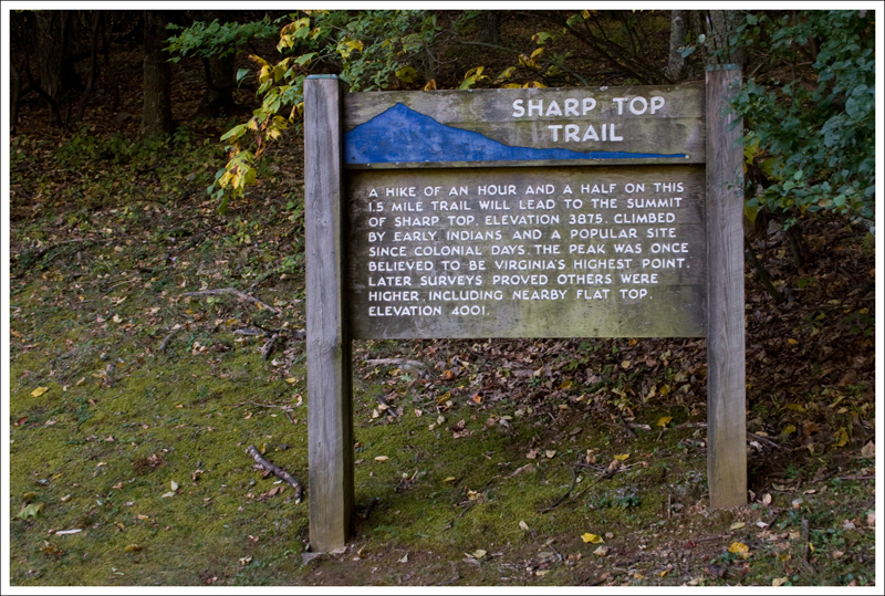 sharp weather station. there is a plaque that mentions sharp top was once believed to be the tallest mountain in virginia and weather station