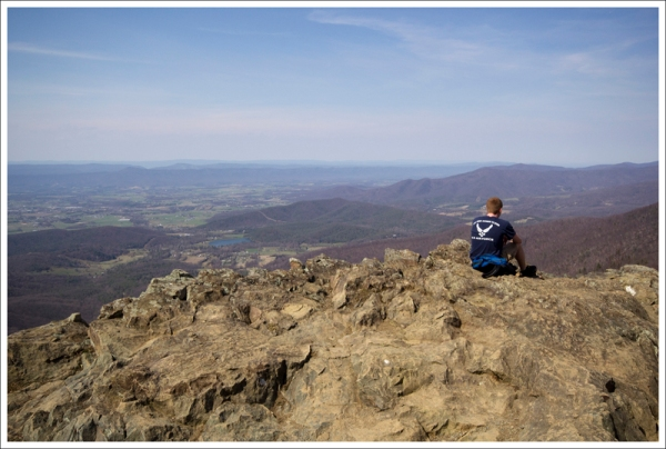 A Fellow Hiker Takes in the View from Little Stony Man