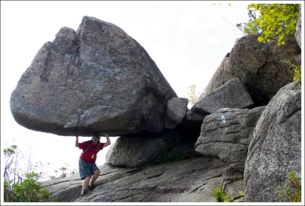 Adam Pretends to Balance a Giant Boulder
