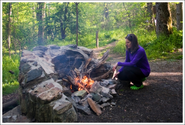Christine Works on the Fire