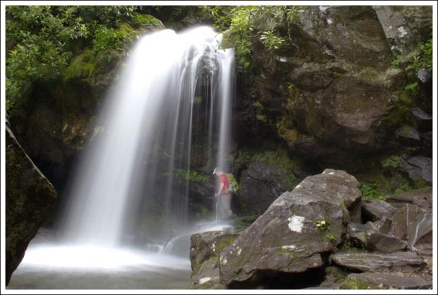 Adam Walks Behind Grotto Falls