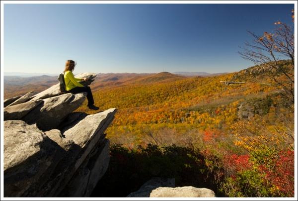 Christine Enjoying the Rough Ridge View